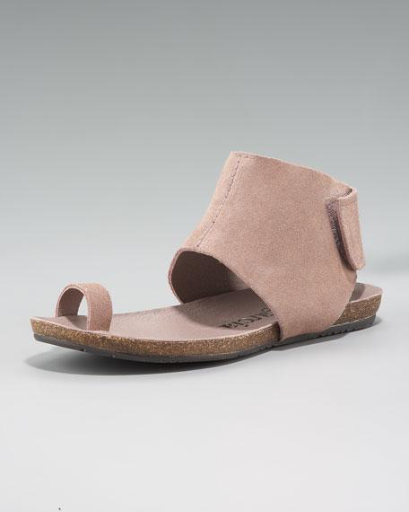 Ankle-Cuffed Flat Sandal, Blush