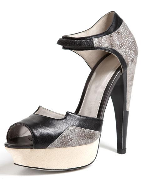 Dovima Wood-Platform Sandal, Black/Gray