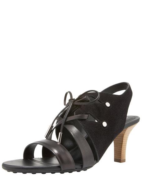 Lace-Up Suede Sandal, Black