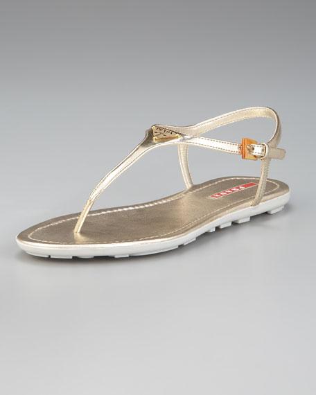 Leather Logo Thong Sandal