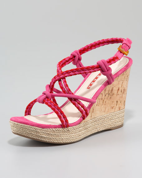 Suede Bicolor Espadrille Wedge Sandal