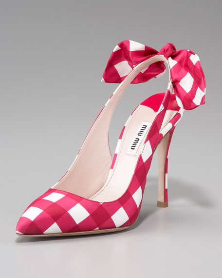 Check Bow-Detail Slingback Pump