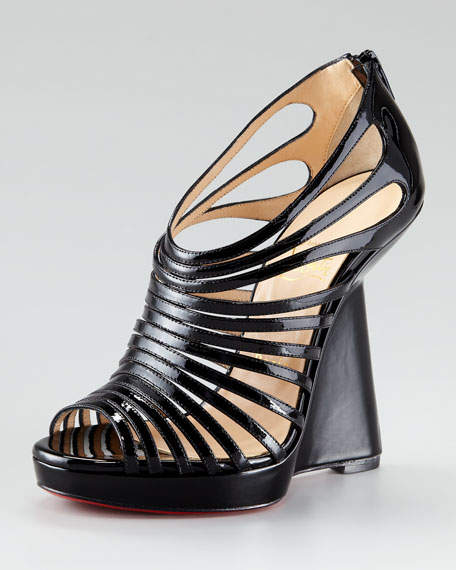 Disco Queen Patent Cage Red Sole Wedge