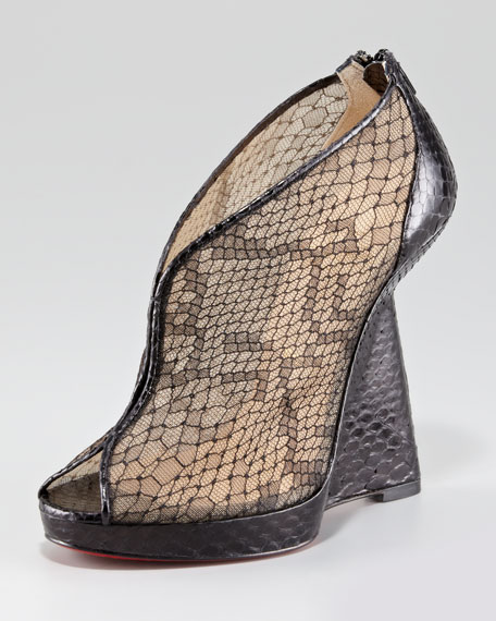 purple louboutins shoes - Christian Louboutin Janet Python and Lace Red Sole Wedge