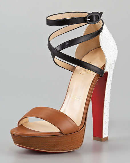Summerissima Crisscross Platform Red Sole Sandal, Brown/White