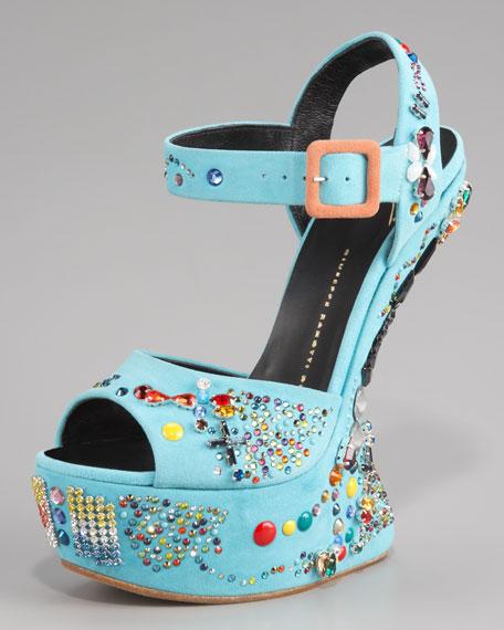 No Heel Crystal-Studded Sandal