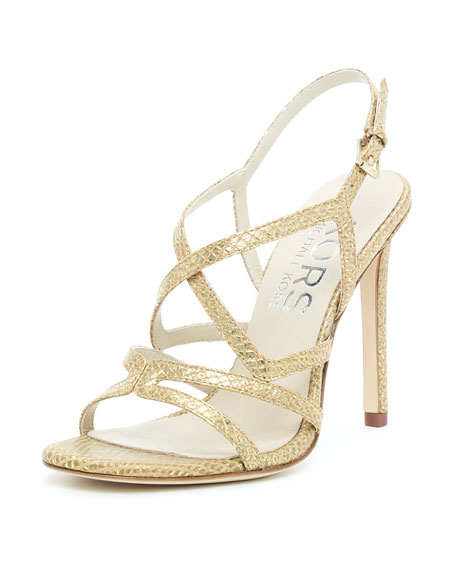 Albury Sandal, Snake-Embossed Gold or Gunmetal
