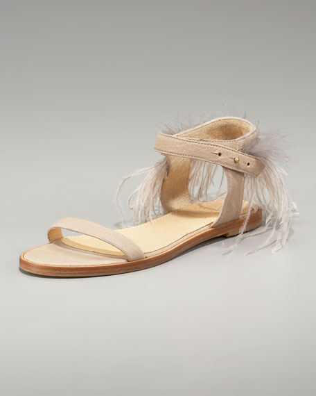 Feather-Detail Flat Sandal