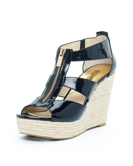 Damita Wedge, Black Patent Leather