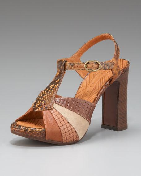 T-Strap Colorblock Sandal
