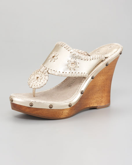 Marbella Whipstitched Wedge Sandal
