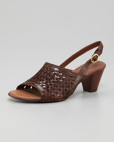 Woven Leather Slingback