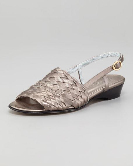Guenna Woven Leather Slingback Sandal