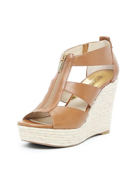 Damita Wedge, Tan Leather