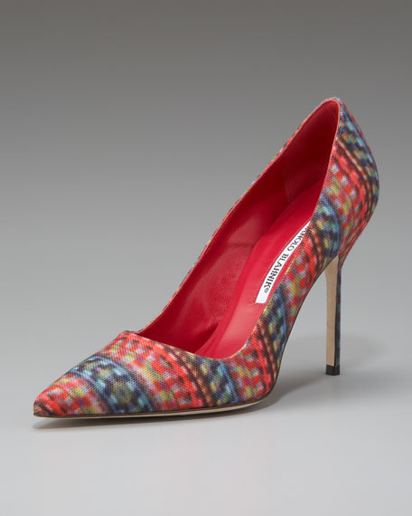 BB Multicolor Fabric Point-Toe Pump