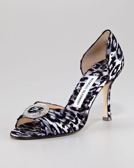 Leopard-Print Velvet d'Orsay