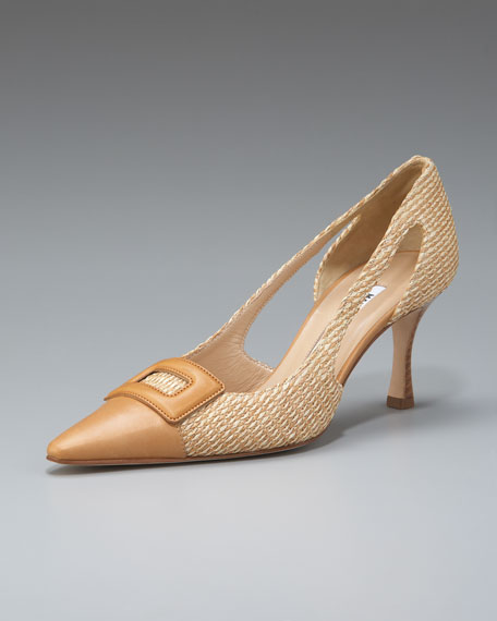 Pargata Buckle-Toe Raffia Pump