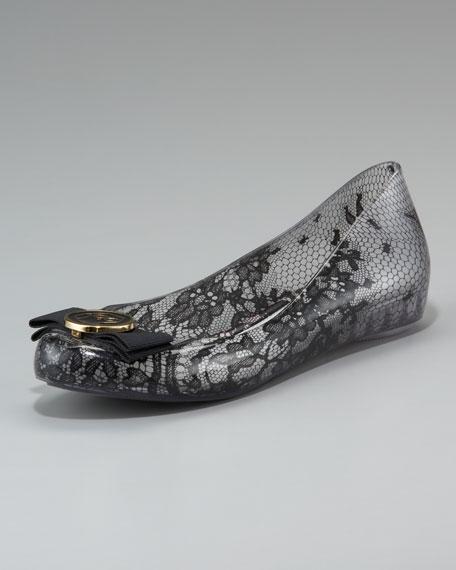 Lace-Print Jelly Ballerina Flat