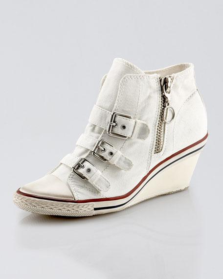 Three-Buckle Sneaker Wedge, White
