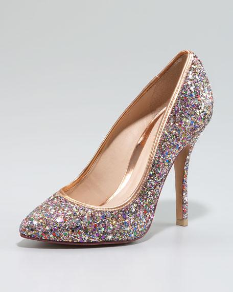 Delila Glitter Pump, Pink