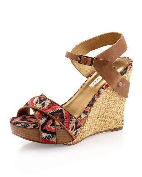 Naomi Aztec-Printed Platform Wedge Sandal