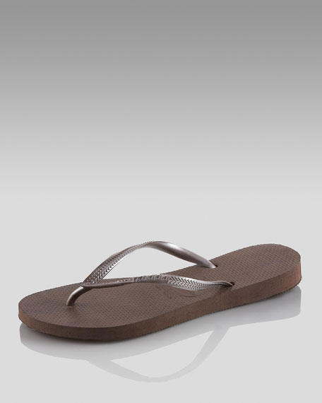 Slim Metallic Thong Sandal, Brown