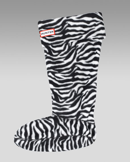Zebra-Print Fleece Welly Socks
