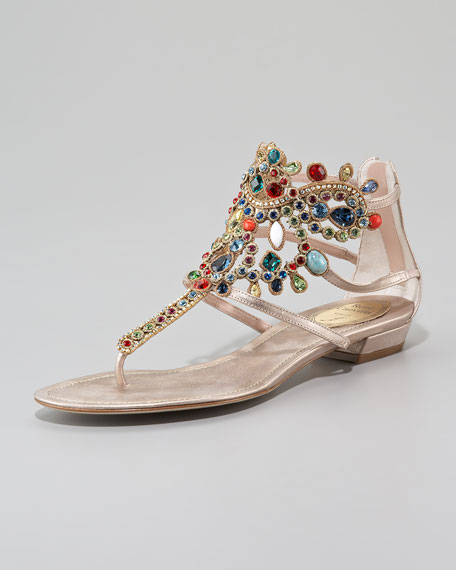 Crystal-Cuffed Thong Sandal