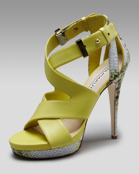 Crisscross Leather & Python Sandal