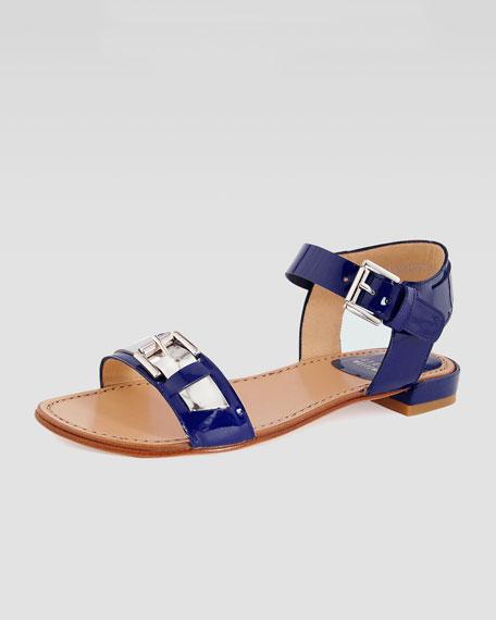 Patent Flat Sandal
