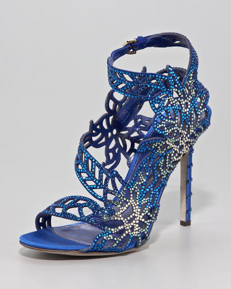 Crystallized Satin Floral Sandal