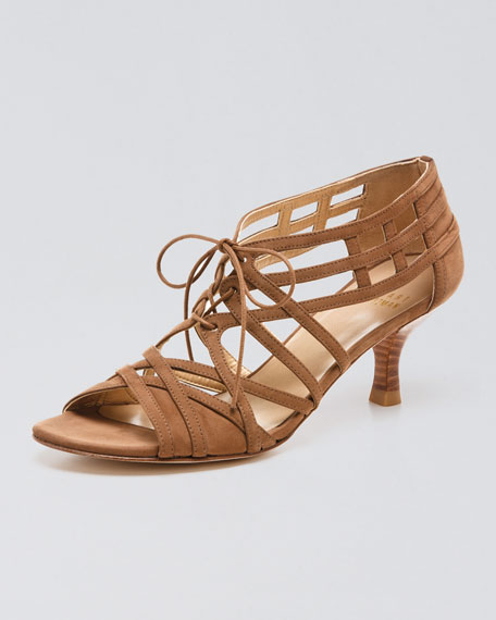 Lace-Up Mid-Heel Sandal