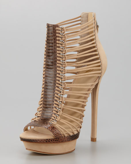 Frontera Strappy Suede & Snake Peep-Toe Bootie