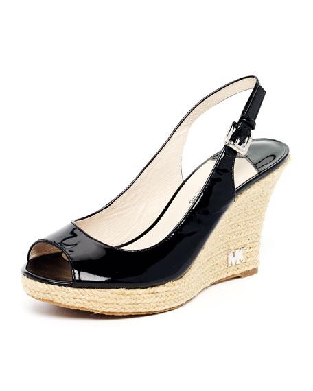 Kami Patent Slingback Espadrille Sandal, Black