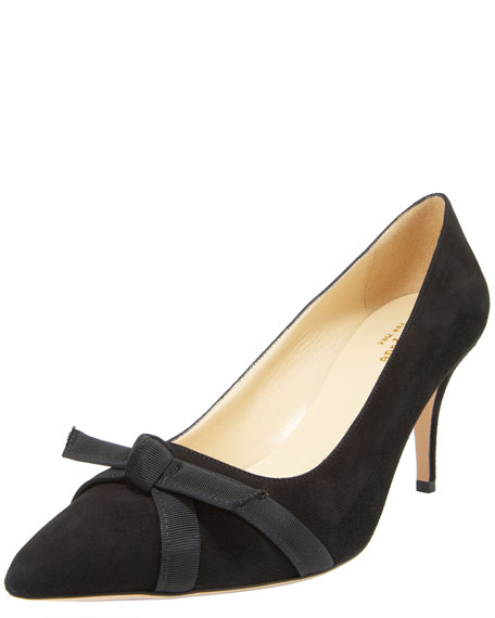thea bow-toe suede pump