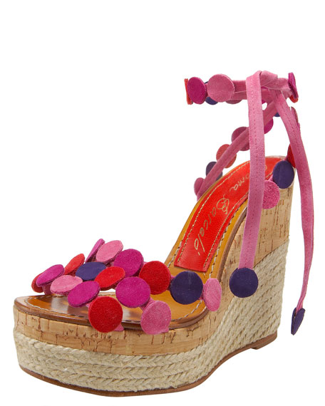 Suede-Dot Wedge Espadrille, Pink
