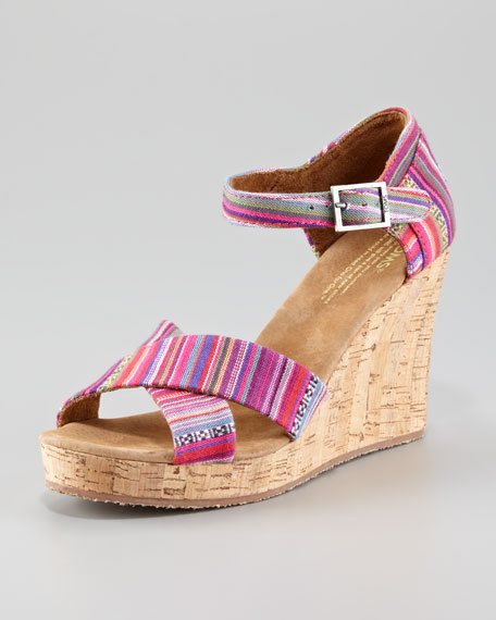 Printed Cork Wedge Sandal