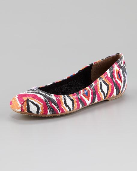 Ikat-Print Ballerina Flat