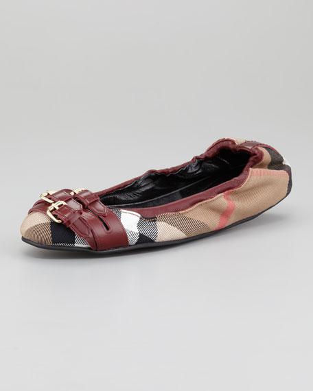 Check Ballerina Flat, Claret