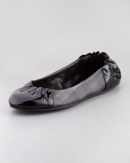Smoked Check Ballerina Flat, Charcoal