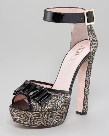 Bow-Toe Metallic Twill Sandal