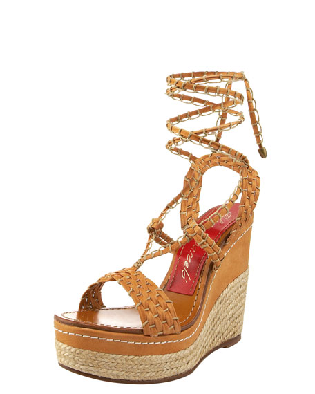 Strappy Ankle-Wrap Espadrille, Tan