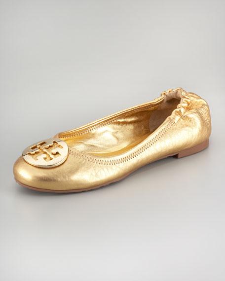 Reva Metallic Leather Ballerina, Gold