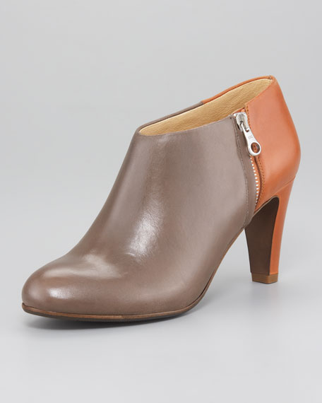 Two-Tone Leather Bootie