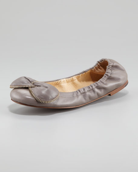 Zipper Bow Ballerina Flat