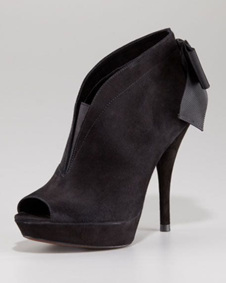 Royce Back-Bow Peep-Toe Bootie