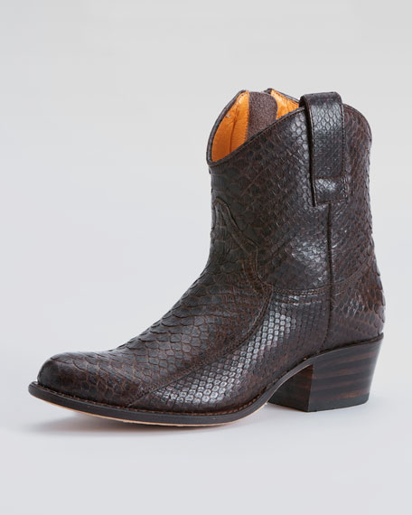 Deborah Short Python-Embossed Leather Boot