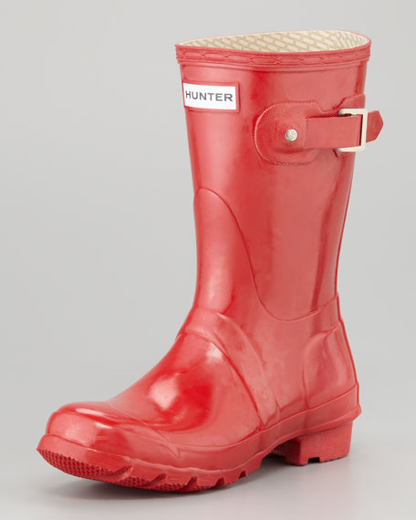 Original Glossy Short Welly Boot, Red