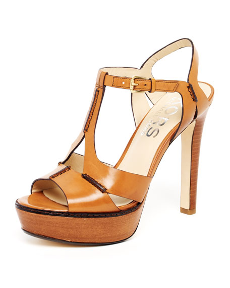 Brookton Leather Cutout T-Strap Sandal, Dark Tan or Persimmon