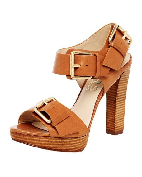 Chiali Leather Buckled Platform Sandal, Dark Tan